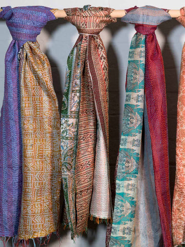 Reversible Kantha Scarves, Pastel Colours
