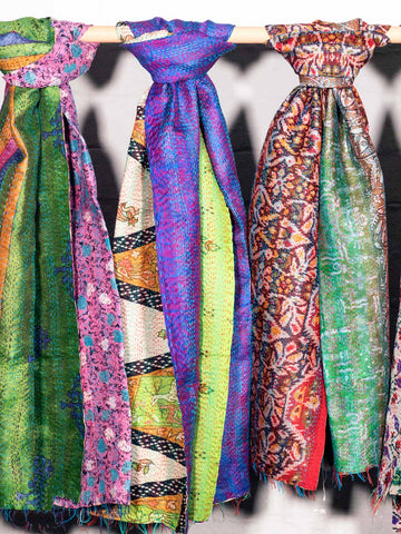 Reversible Kantha Scarves, Shades of Green