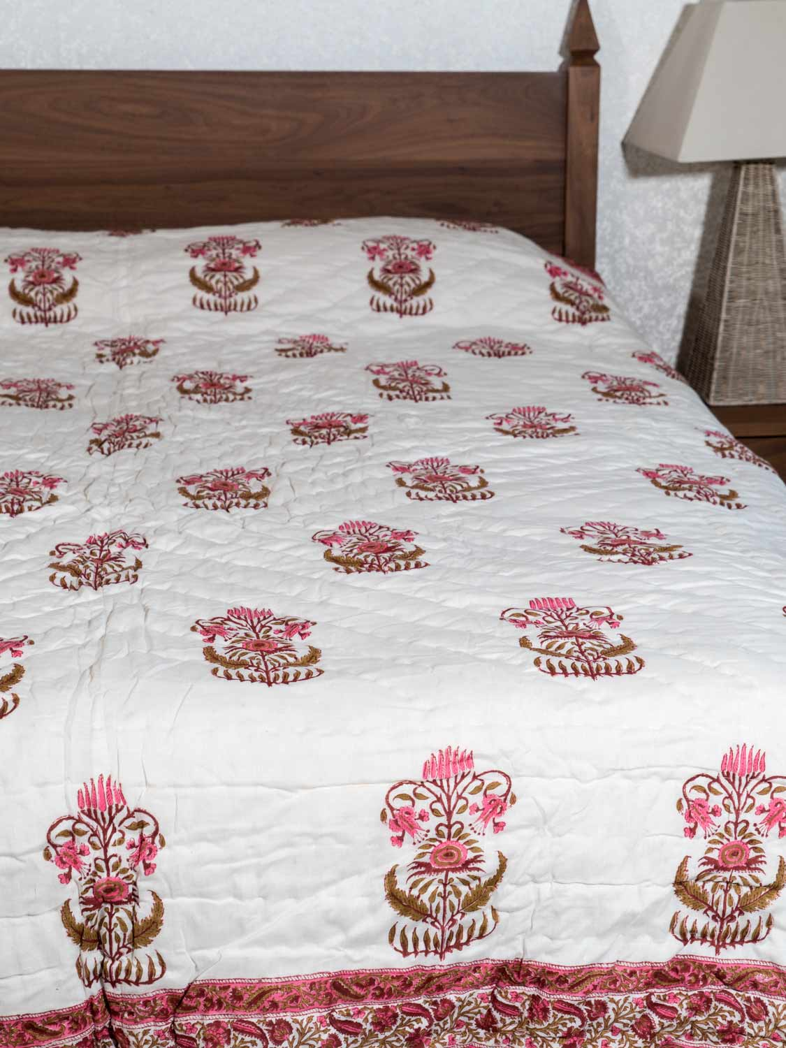 Rose Pink Floral Reversible Printed Indian Quilt