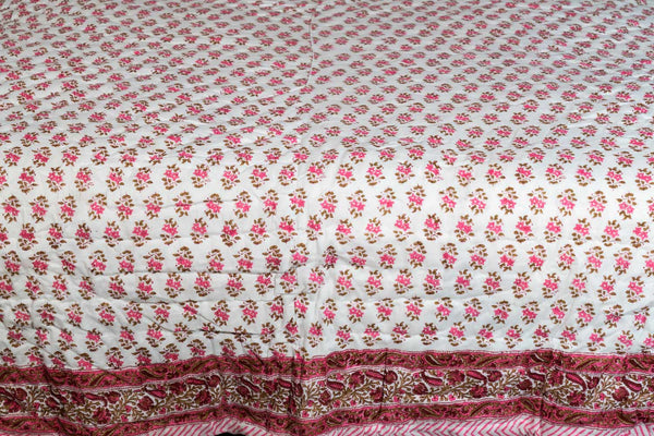 Rose Pink Floral Reversible Printed Indian Quilt detail