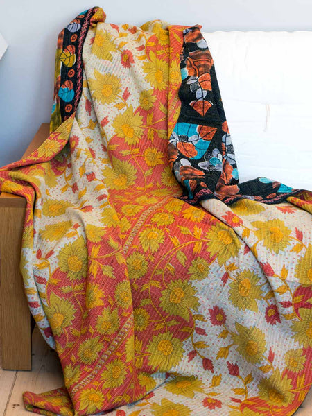 Rust, Mustard & Blue Leaves Kantha Quilt reverse detail