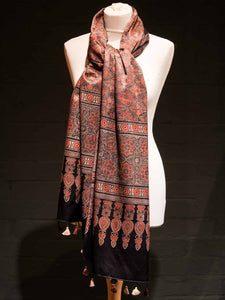 Hand Printed Satin Scarf - Red & Nutmeg