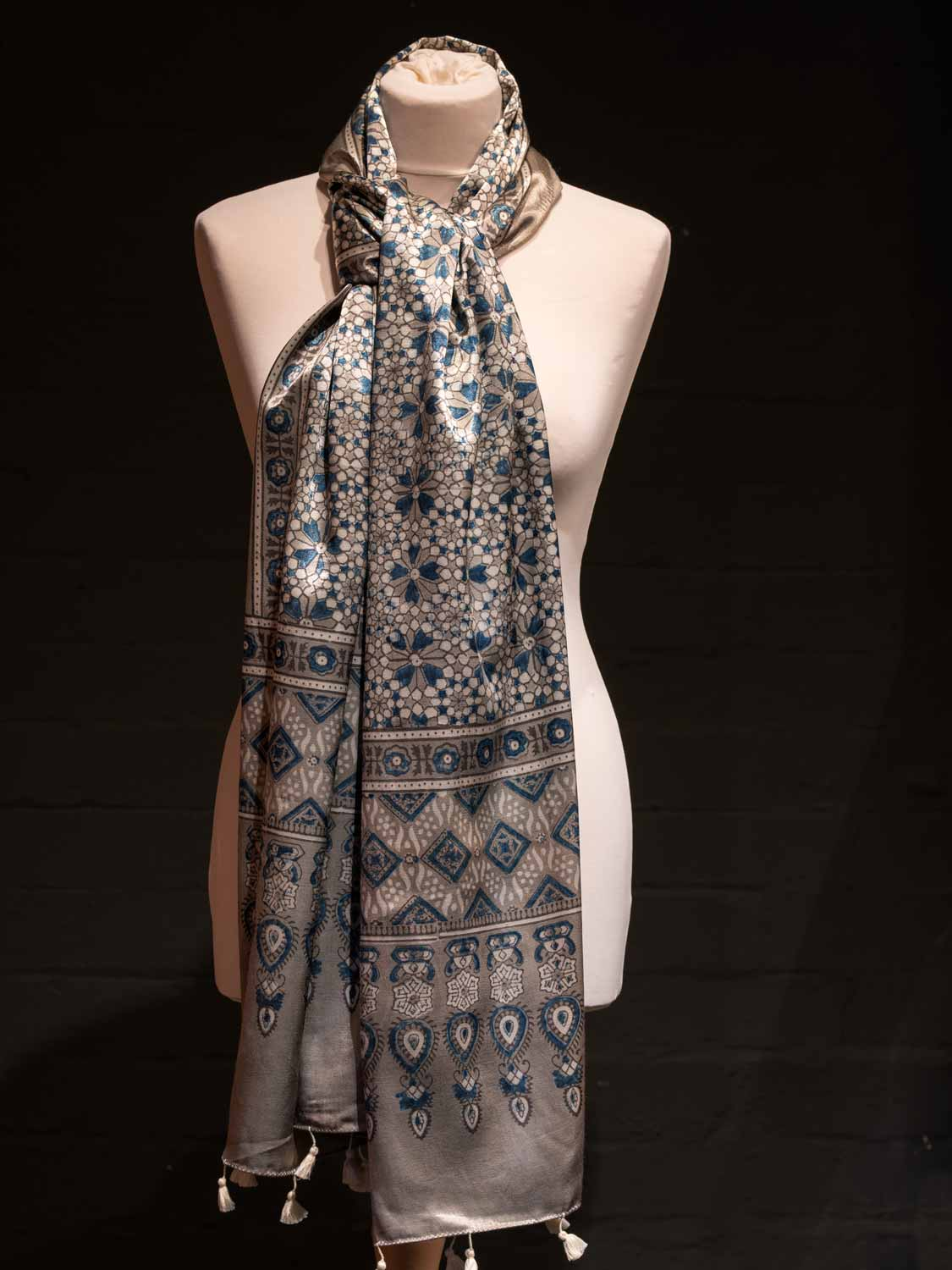 Satin Printed Scarf - Silver and Blue
