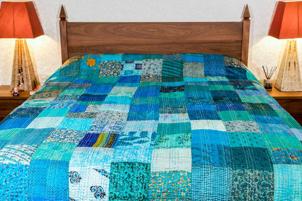 Silk Patchwork Indian Kantha Bedspread, Kingfisher Blue