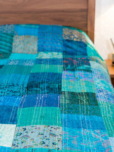 Silk Patchwork Indian Kantha Bedspread, Kingfisher Blue detail