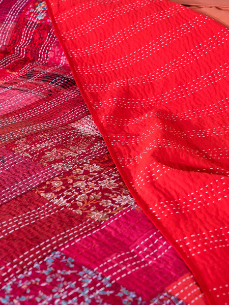 Silk Patchwork Indian Kantha Bedspread, Red, detail