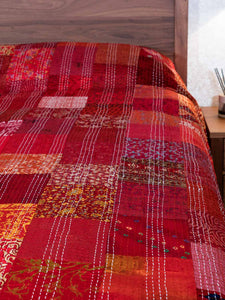Silk Patchwork Indian Kantha Bedspread, Red