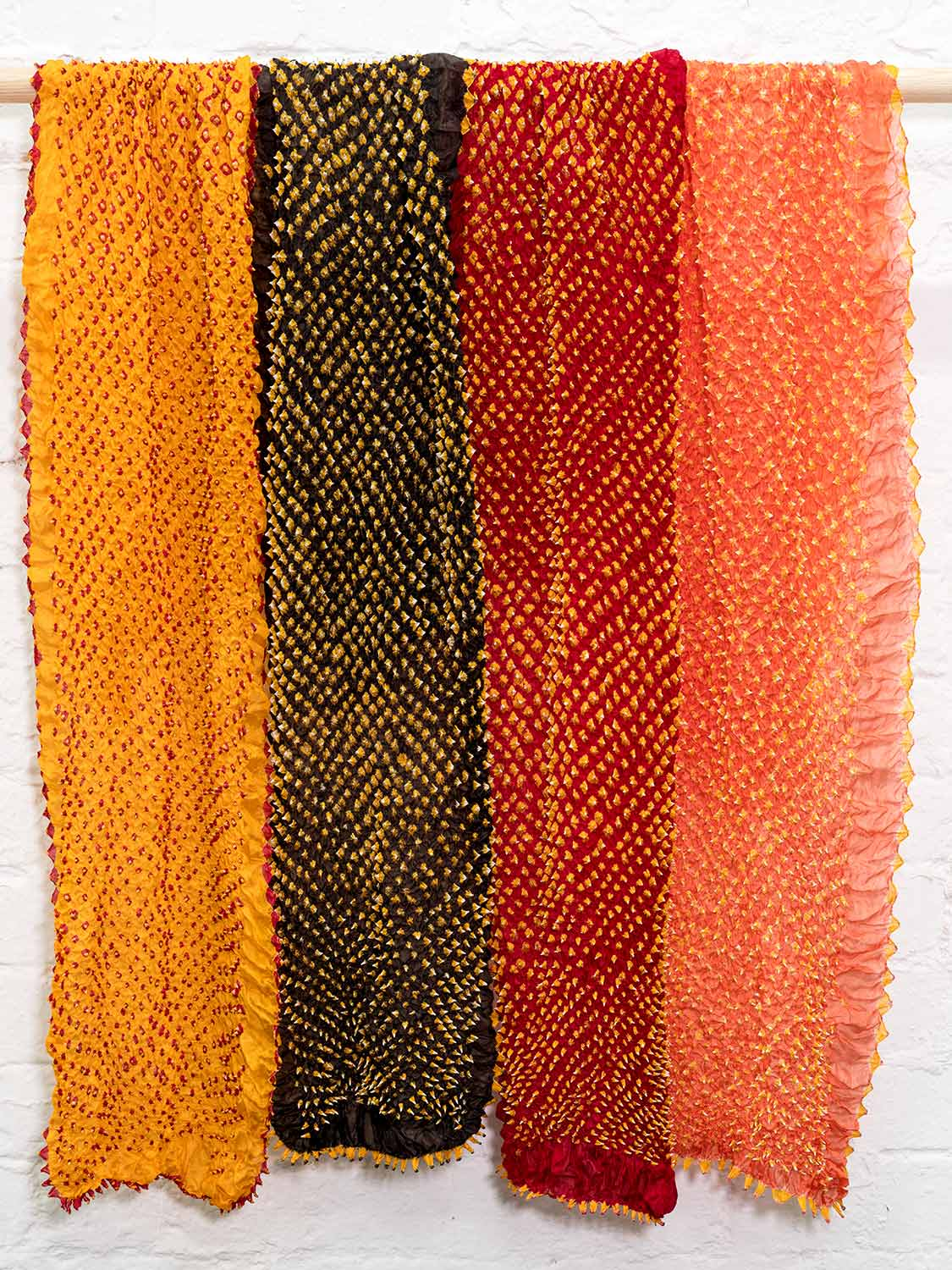 Silk Bandhani Scarves - Red Gold