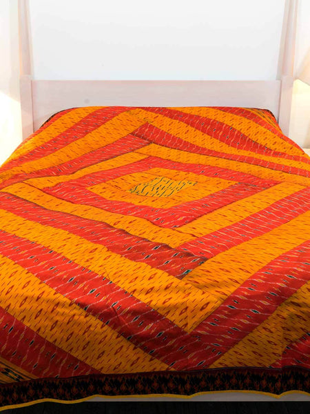 Silk ikat patchwork Indian Bedspread - Gold