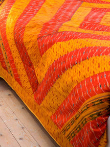 Silk ikat patchwork Indian Bedspread - Gold, detail