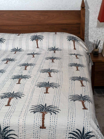 Slate Blue Palm Trees Indian Double Bedspread