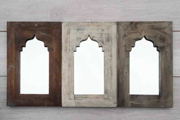 Triple Arched Distressed Wooden Mirror