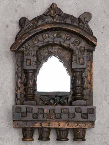 Small Arched Carved Wooden Mirror