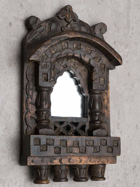Small Arched Carved Wooden Mirror side view