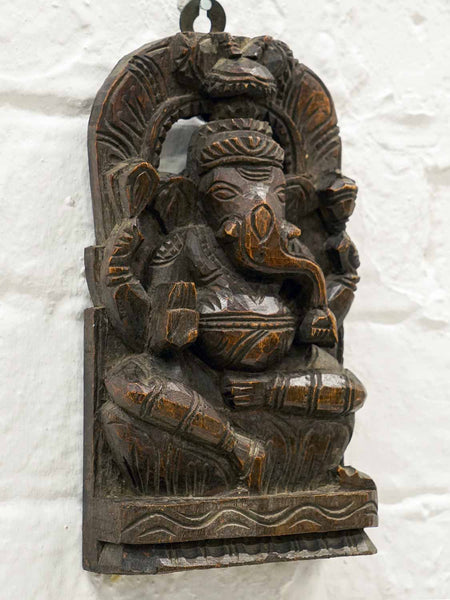 Small Carved Wooden Ganesh Statue