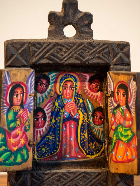 Small Painted Wooden Icon from Ethiopia  detail