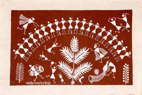 Small Warli painting of Dancers & a Tree