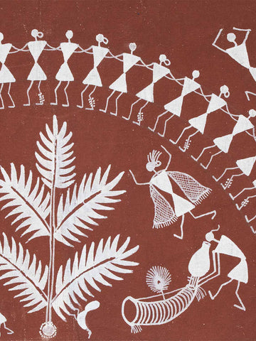 Small Warli painting of Dancers & a Tree detail