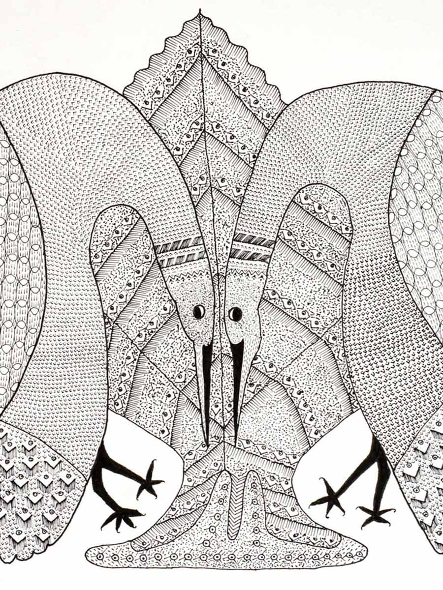 Tribal Art, Gond Drawing, Two Peacocks