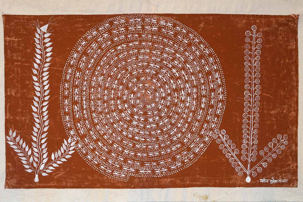 Warli Painting of a Spiral & Two Plants