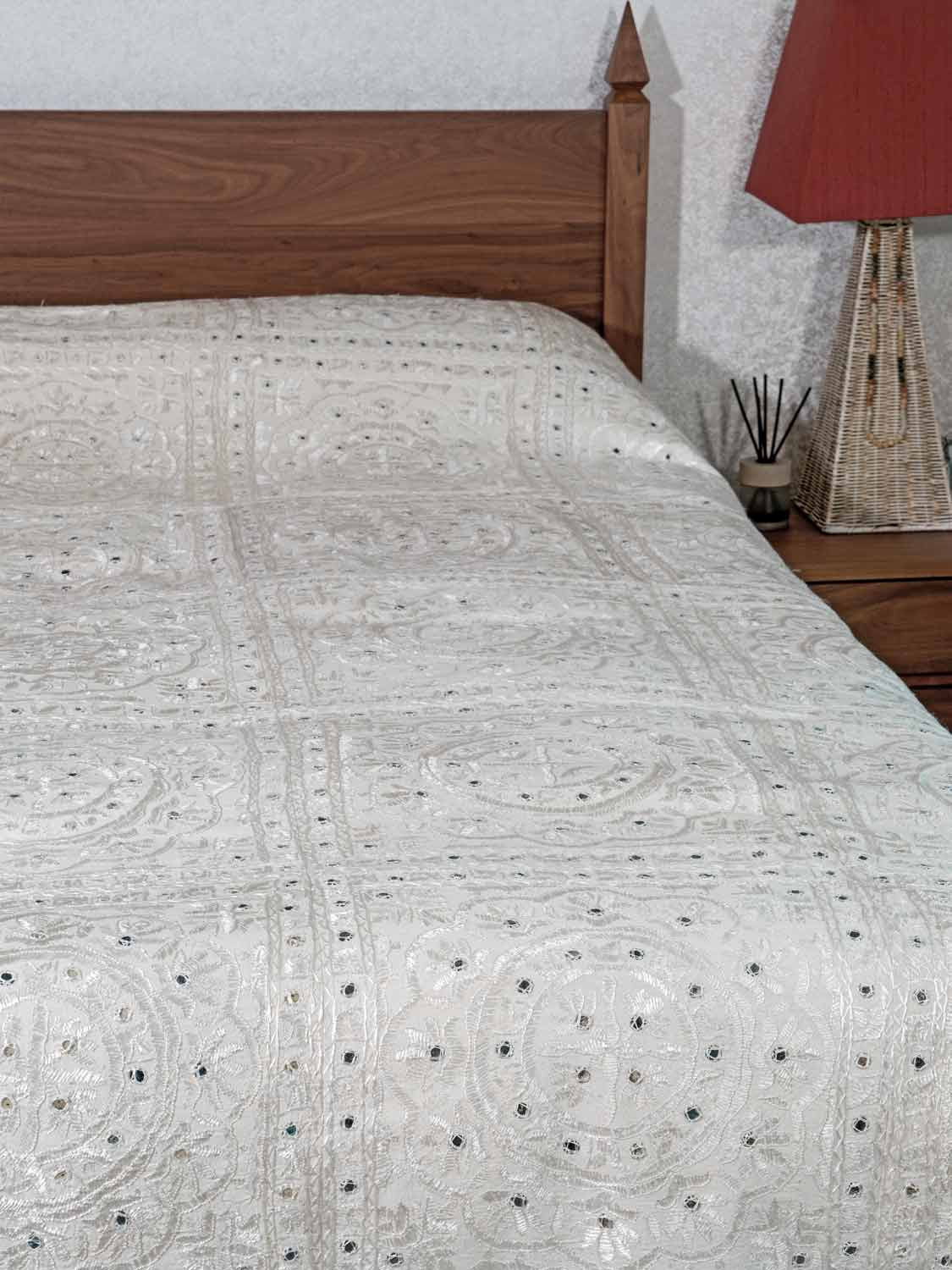 White Embroidered Taj Indian Bedspread