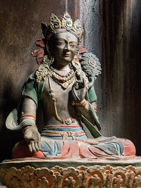 Photo of a statue of White Tara at Attetse Monastery in Ladakh, India