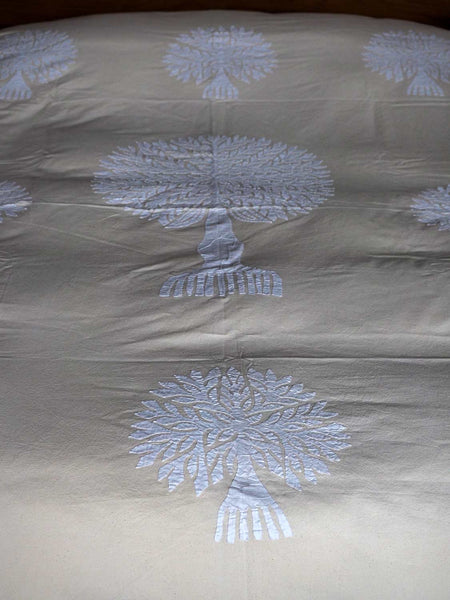 White Tree of Life Appliqued Indian Bedspread detail