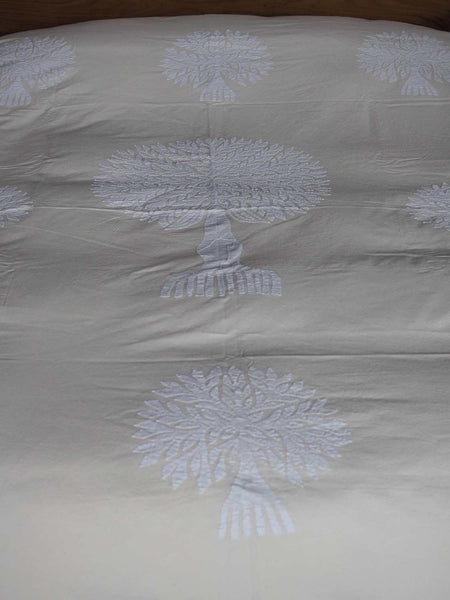White Tree of Life Appliqued Indian Bedspread