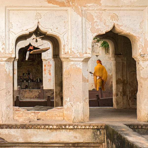 Yellow Robe at Orchha Stepwell square format