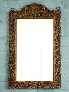 Antique Gold Leaf Pattern Carved Wooden Indian Mirror 1