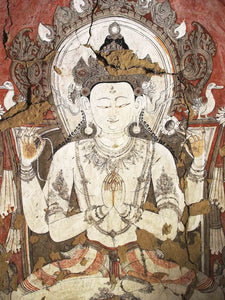 Photo of an Avalokiteshvara Cave Painting in Mustang, Nepal
