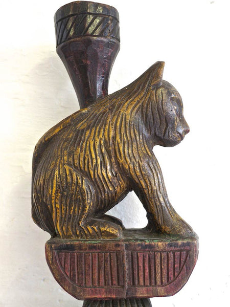 Carved Wooden Animal Candle Stand