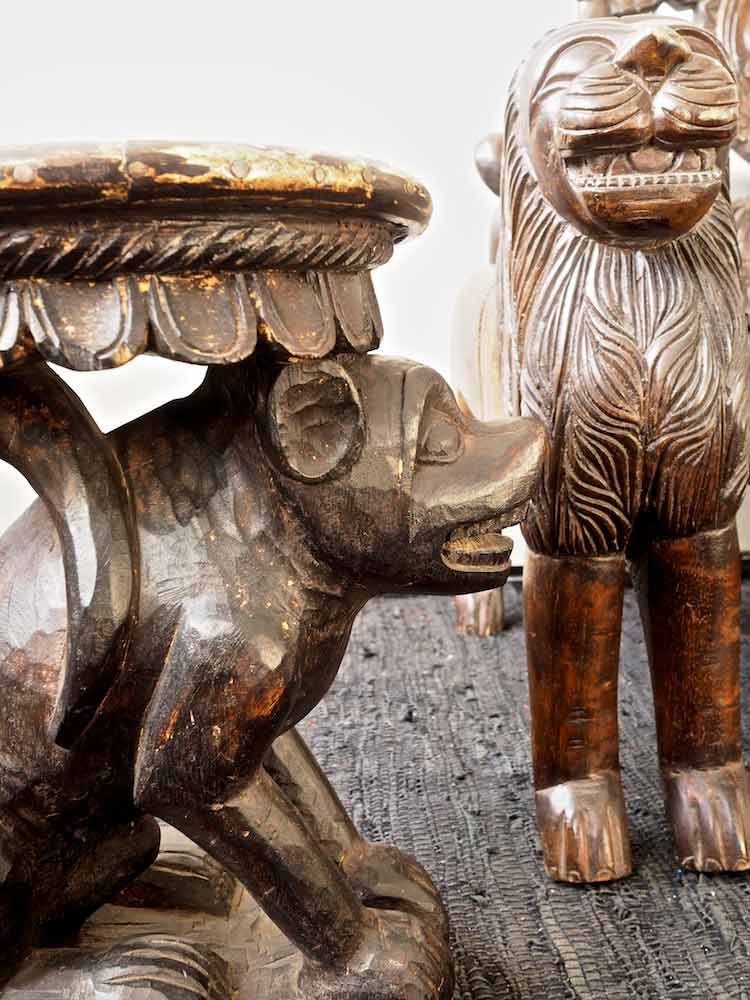 Carved Wooden Dog Table Silk Road Gallery