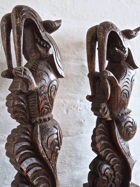 Pair of Carved Wooden Dragons