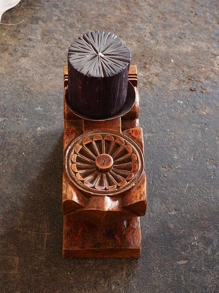 Carved Wooden Indian Candleholder