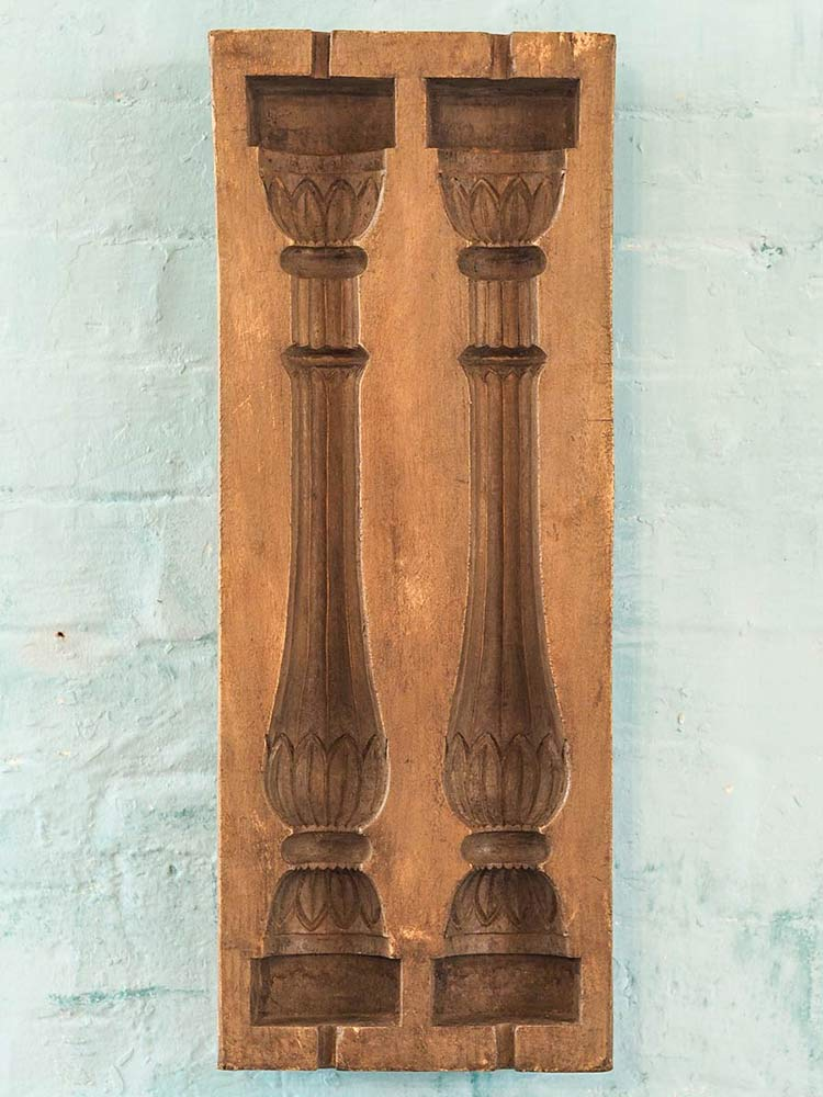 Carved Wooden Mold for a Pair of Columns