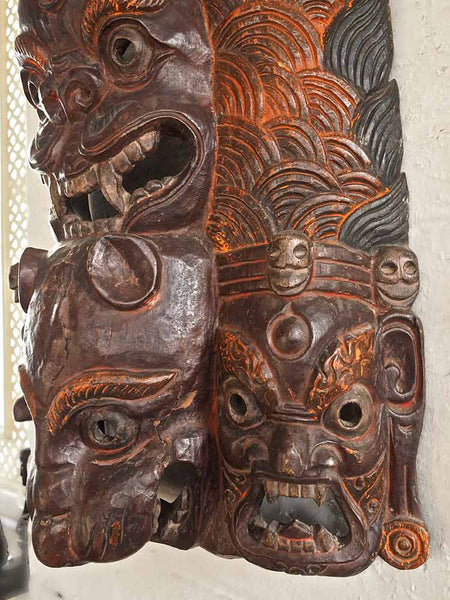 Large Carved Antique Tibetan Mask