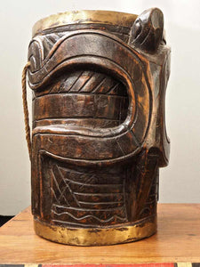 Carved Wooden Vase with Lizard
