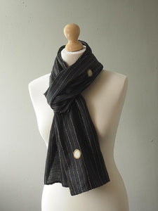 Embroidered Black Indian Silk Scarf