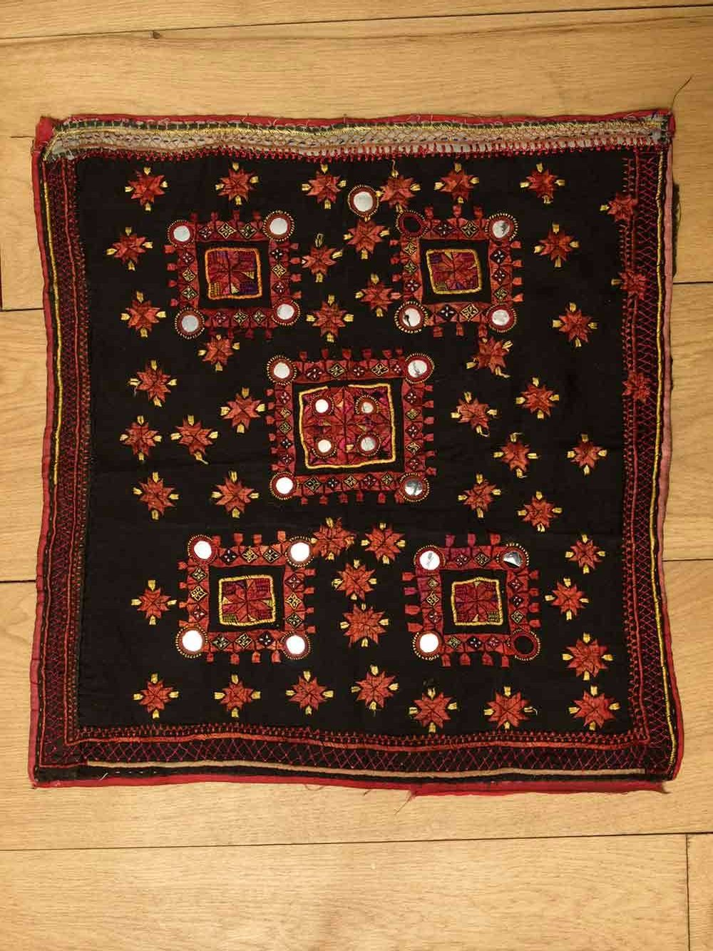 Embroidered Black & Red Square Cloth