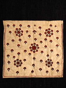 Embroidered Cloth, Red on White Floral