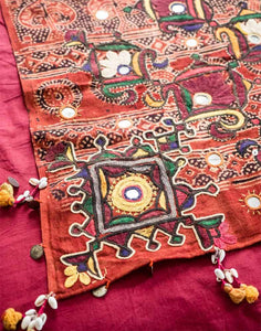 Embroidered and Printed Indian Bedcover