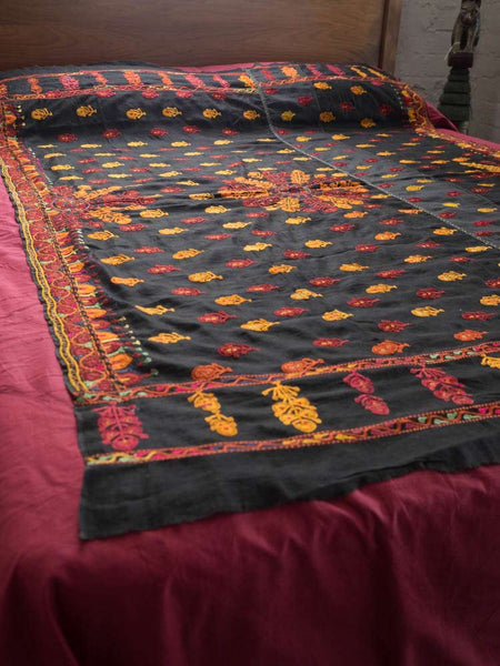 Gold & Plum Embroidered Black Bedcover
