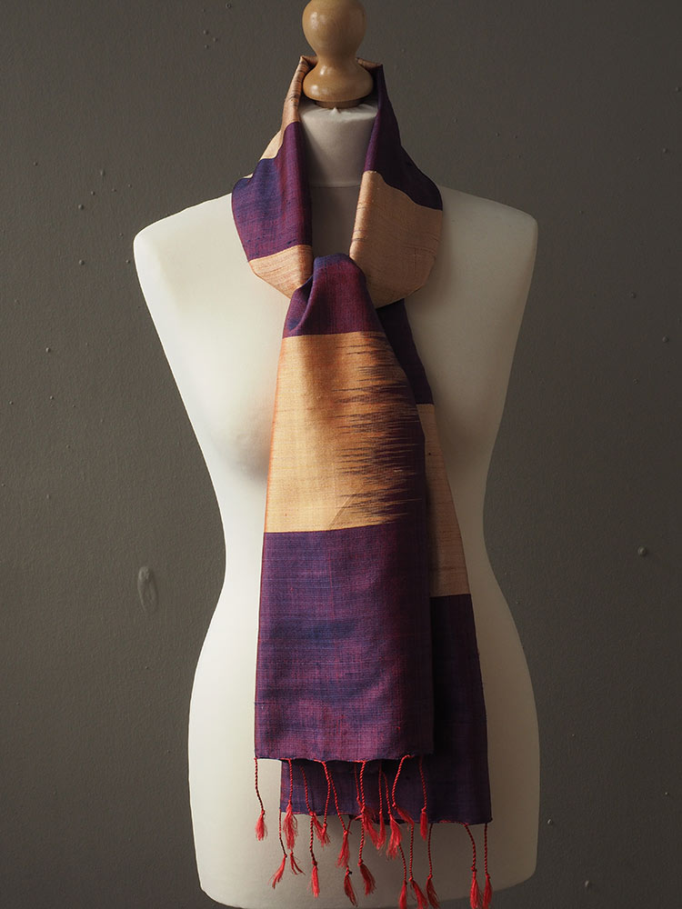 Gold and Purple Silk Scarf