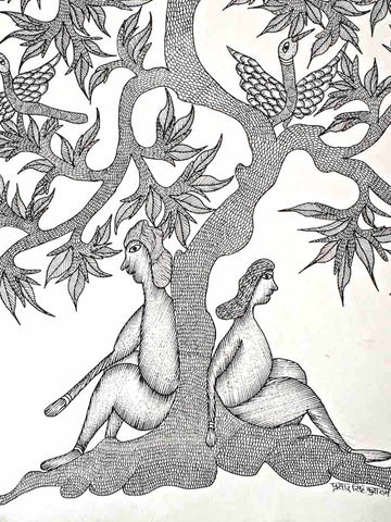 Gond Painting of a Couple under a Tree
