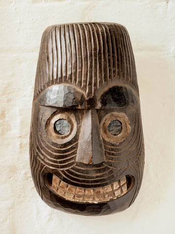 Grinning Carved Wooden Mask from Nepal