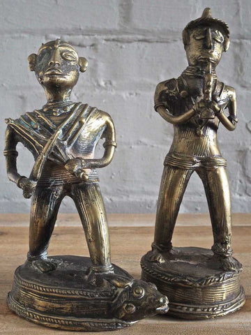 Indian Brass Statues of Musicians
