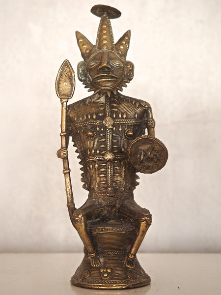 Indian Brass Statue of a Seated Warrior