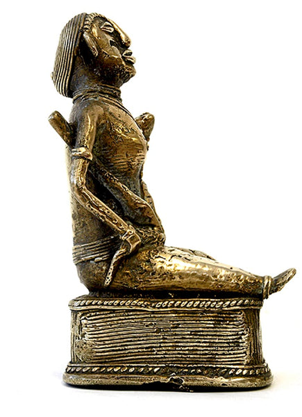 Brass Statue of a Seated Woman with Snake