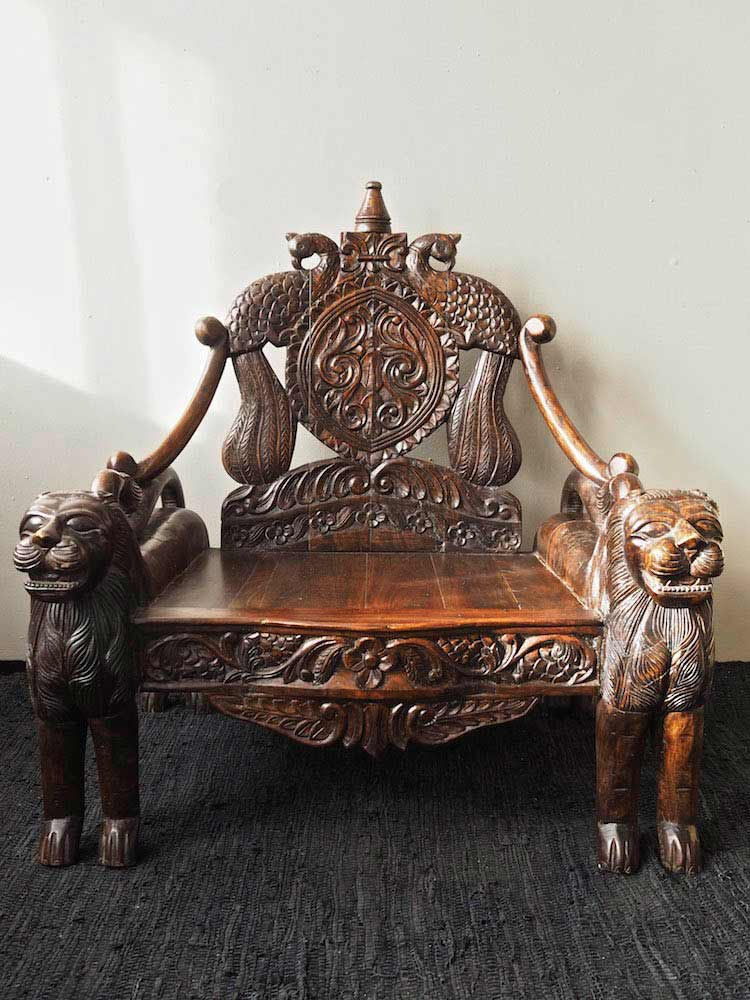 Indian Furniture Lion Throne Silk Road Gallery